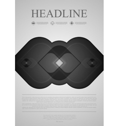Black and grey abstract flyer design vector image
