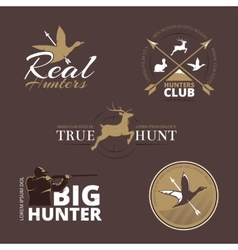 Labels with duck deer hare gun and vector