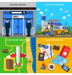 Airport concept 4 flat icons square vector