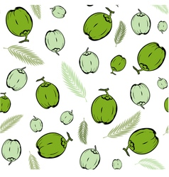 Coconut fruit and palm leaves green seamless vector