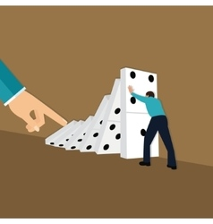 Domino effect hand finger push chain reaction vector