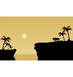 Silhouette of gazebo in cliff vector