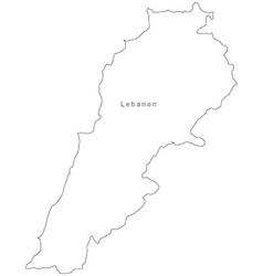 Black White Lebanon Outline Map vector image