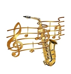 Musical stave volume and saxophone vector