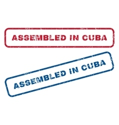 Assembled in cuba rubber stamps vector