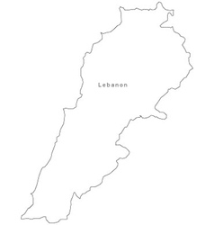 Black White Lebanon Outline Map vector image vector image