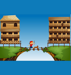 Boy crossing bridge on the cliff vector