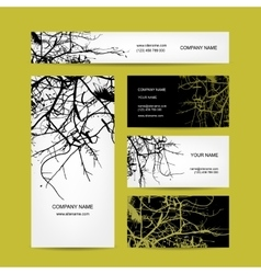 Business cards design bare tree background vector