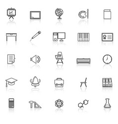 Classroom line icons with reflect on white vector