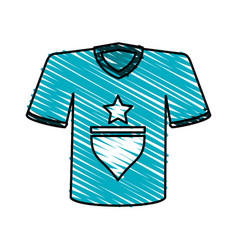 Color crayon stripe cartoon blue soccer t-shirt vector