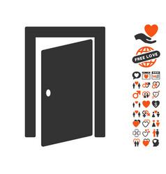 Door icon with love bonus vector
