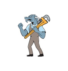 Dragon plumber monkey wrench fist pump isolated vector