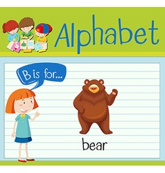 Flashcard letter B is for bear vector image vector image