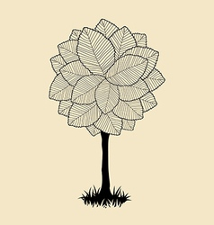 Floral tree silhouette vector image vector image