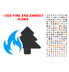 forest fire icon with bonus fire collection vector image