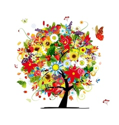 Four seasons concept Art tree for your design vector image vector image