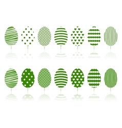 Green decoration garden trees symbols set vector