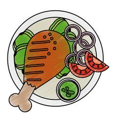 Grilled chicken vector