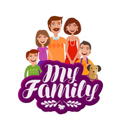 happy large family banner parents and children vector image
