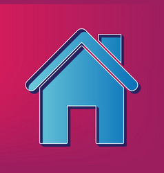 Home silhouette blue 3d vector