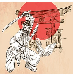 Japan an warrior shinto swan an hand drawn picture vector