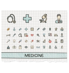 Medical hand drawing line icons doodle vector