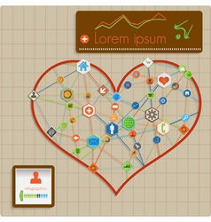 Modern abstract info graphic design - heart lines vector image