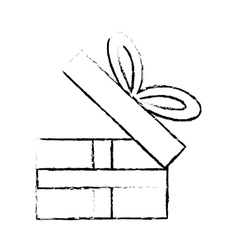 open gift box ribbon festive party sketch vector image