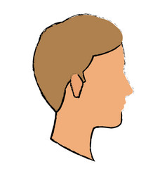 Profile man young character people vector