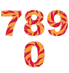 Red autumn style digits numbers set with eco vector