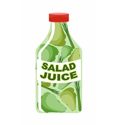 Salad juice juice from fresh vegetables lettuce in vector
