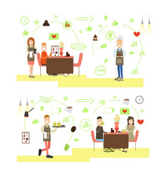 set of coffee house people flat symbols vector image vector image
