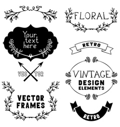 Set of vintage design elements and page vector image vector image