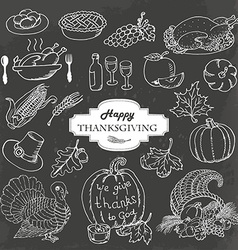 Sketch doodle Thanksgiving icon set on gray vector image