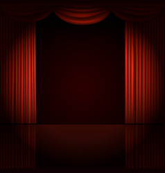 stage curtains with spotlight vector image vector image