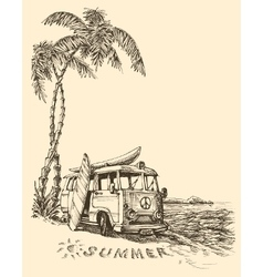 Surf van on the beach sketch vector image vector image