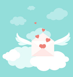 Valentine love letter envelopes wings hearts sky vector
