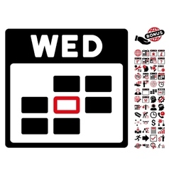 Wednesday calendar grid flat icon with vector