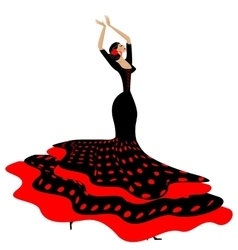 Woman in red-black and flamenco vector