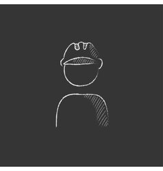 Worker wearing hard hat drawn in chalk icon vector