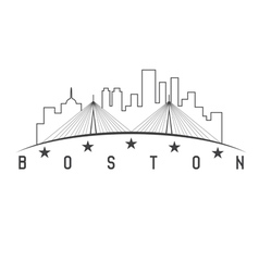 Boston massachusetts usa skyline design vector