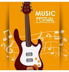 Electric guitar music note sound media festival vector