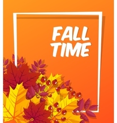 Autumn time seasonal banner design fall leaf vector