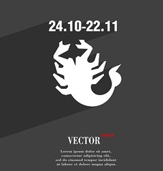 Scorpio symbol flat modern web design with long vector