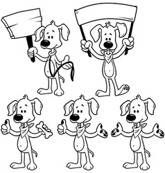 Set of cartoon dog Outline on a white background vector image