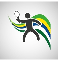 Tennis sportsman flag background design vector