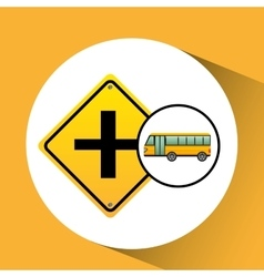 Bus yellow with crossroad vector