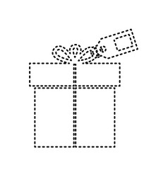 Gift sign with tag black dashed icon on vector