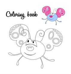 Cute butterfly coloring book vector