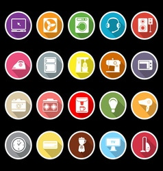 Electrical machine icons with long shadow vector